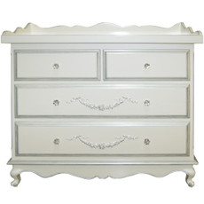 Belle Paris 4 Drawer Dresser - Silver