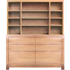 Tempo Bookcase - Bin Drawers w/Custom Ash and Hutch