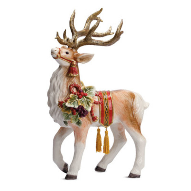 "NIB Fitz and Floyd Regal Holiday Deer Figurine 17.5"" 49-262"
