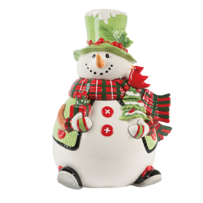 NIB Fitz and Floyd Holly Hat Snowman Cookie Jar 29-800