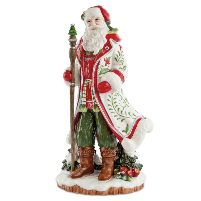 NIB Fitz and Floyd Winter White Holiday Santa Figurine 29-700