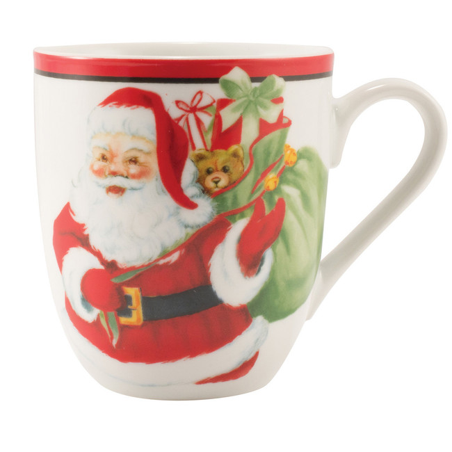 NIB Fitz and Floyd Letters to Santa Coffee Mug Set 2 49-456