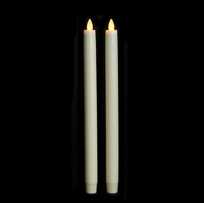 "12"" Flameless Ivory Smooth Wax Taper Candles"