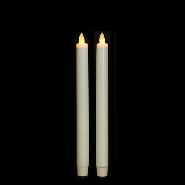 "10"" Flameless Ivory Smooth Wax Taper Candle"