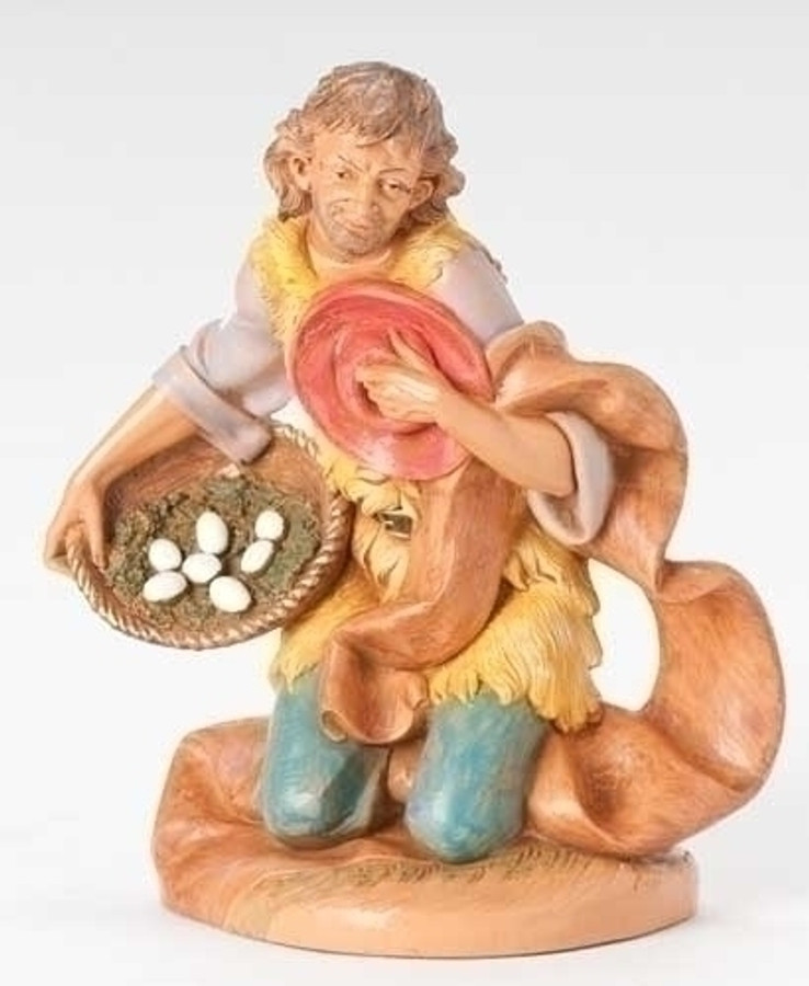 "12"" KNEELING EZRA W/BASKET NATIVITY FIGURE"