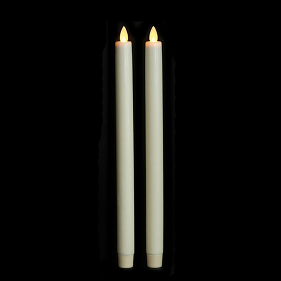 """12"""" Flameless Ivory Smooth Wax Taper Candles"""