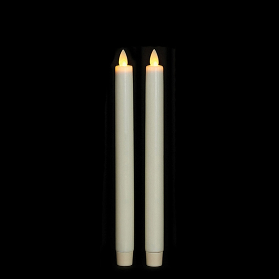 """10"""" Flameless Ivory Smooth Wax Taper Candle"""
