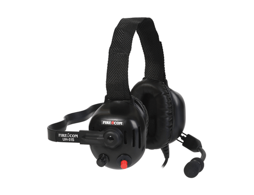 FireCom Under-helmet wired headset with one slotted dome. Full duplex intercome and PTT radio transmit