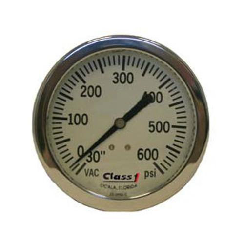 """Class 1 2.5"""" Liquid Filled White Face Pump Panel Gauge - (-30-600)"""