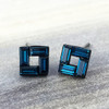 Swarovski Open Square Earrings in Gunmetal