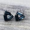 Swarovski Open Triangle Earrings in Gunmetal