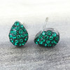 Swarovski Pave Teardrop Earrings in Gunmetal