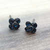 Swarovski Flower Earrings in Gunmetal