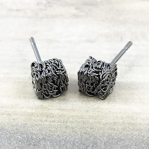 Textured Cube Earrings