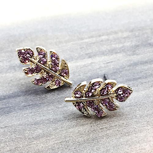 Swarovski Leaf Earrings in Gold