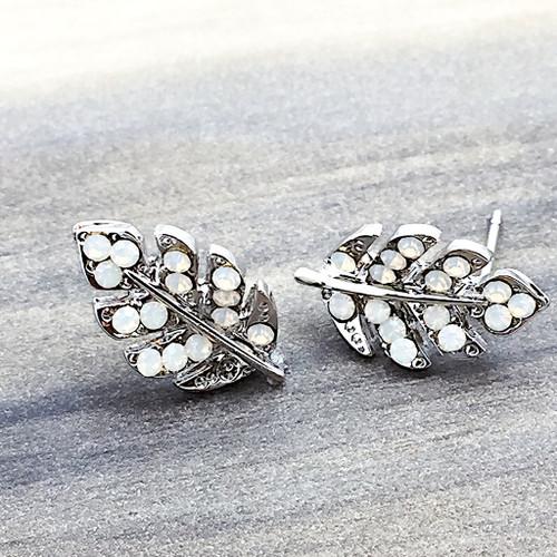 Swarovski Leaf Earrings in Silver
