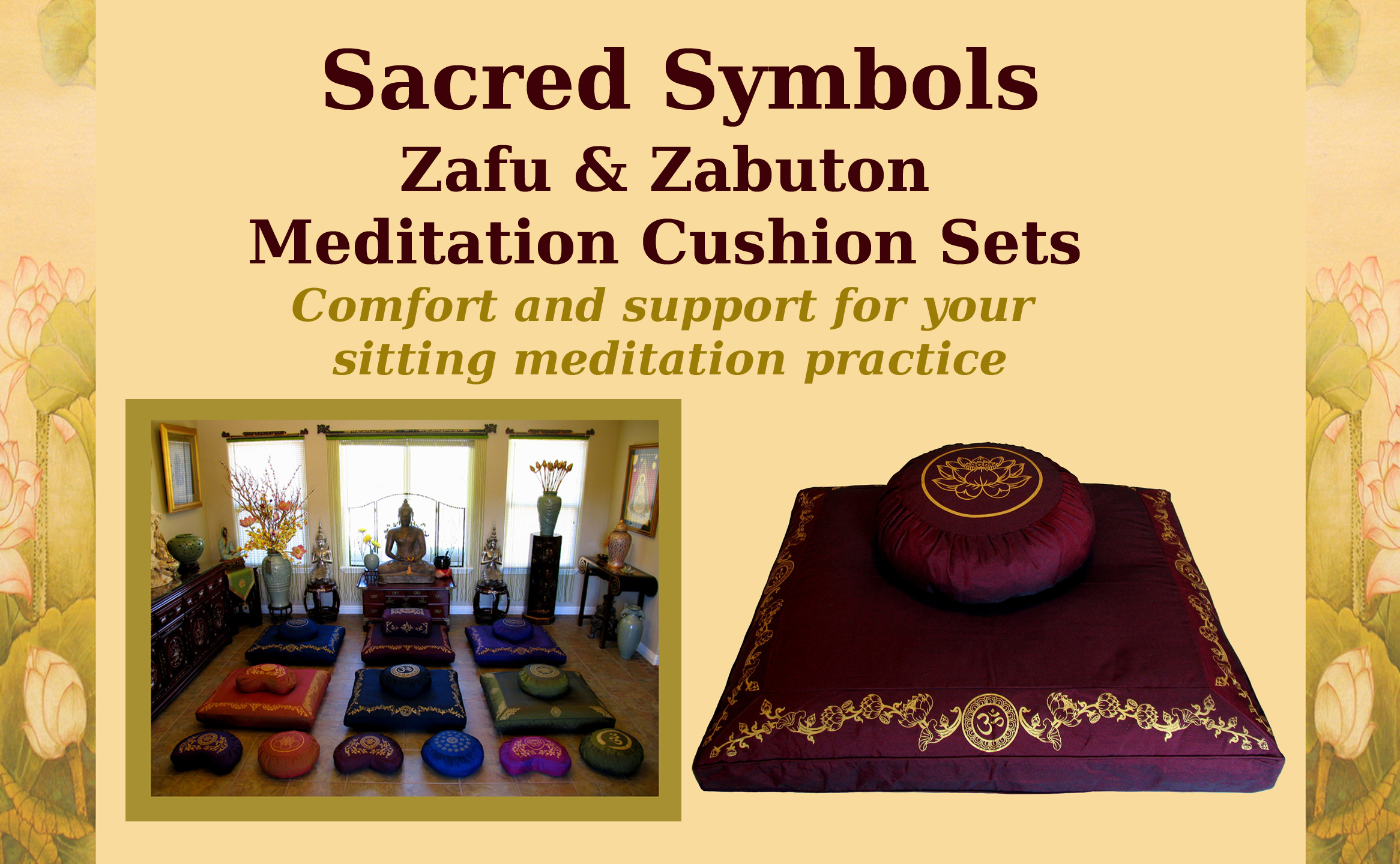 meditation cushion sets sacred symbols