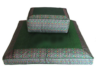 Meditation Cushion Set - Tibetan Rectangular Zafu & Zabuton - Green Ikat Print