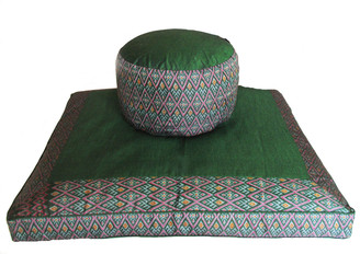 Meditation Cushion Set - High Seat Zafu & Zabuton - Ikat Print - Green