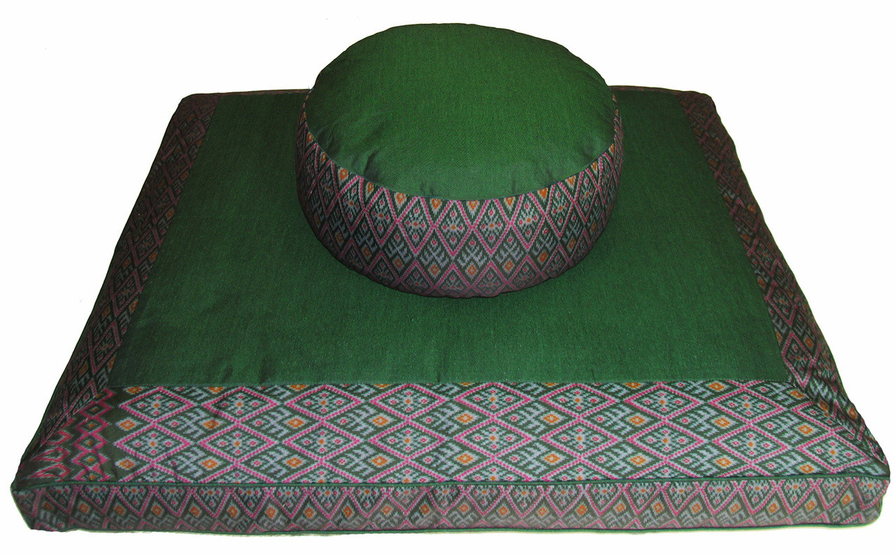 Zabuton Floor Cushions : Meditation Cushion Set - Combo Fill Zafu & Zabuton Floor Mat - Ikat Print - Green - Boon Decor