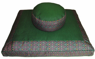 Meditation Cushion Set - Combo Fill Zafu & Zabuton Floor Mat - Ikat Print - Green