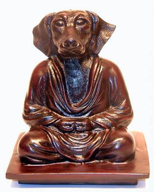 "Meditating Dog Figurine - Mahogany Color Resin 6"""