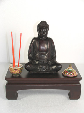 Sample Setup - Altar Table or Display Base - Pine Wood Dark Walnut Finish