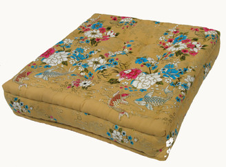 Meditation Floor Pillow - Sitting Cushion - Limited Edition - Floral Fish - Yellow/Beige