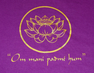 T-Shirts with Sacred Symbols - Unisex: Tee Shirts with Sacred Symbols - Unisex - Om mani padmi hum - Lotus Purple