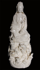 Quan Yin Statue - Porcelain - 14 With Nine Dragons