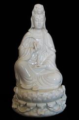 """Quan Yin (Kuan Yin) Statues - Holding Willow Branch - Porcelain 15"""""""