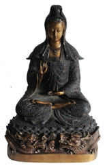 "Quan Yin Statue Goodess of Compassion - Solid Bronze - Dark Antique Finish 18"" high"