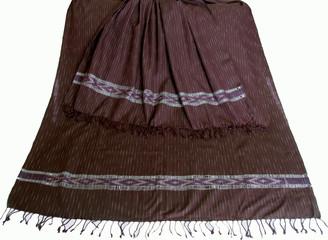 "Meditation Shawl - Hand-Loomed Ikat Pattern - Pure Organic Cotton - Plum 40"" x 84"""