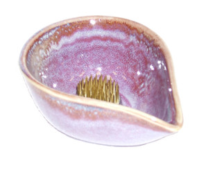 Ikebana Bowls - Lavender Dipped Glaze: Small Water Drop Porcelain Ikebana Bowl