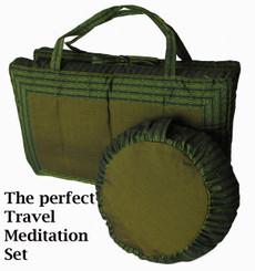 Meditation Cushion Round Zafu & Folding/ Travel Zabuton Set - Global Weave - Green