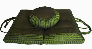 Meditation Cushion Set - Zafu & Folding Zabuton - Global Weave - Olive Green