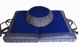 Meditation Cushion Round Zafu & Folding/Travel Zabuton Set - Brocade - Royal Blue