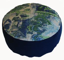 "Meditation Cushion - Combination Fill Zafu ""Blue Dragons of the Far East"""