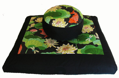 Meditation Cushion Zafu & Zabuton Set - Koi in Lotus Pond