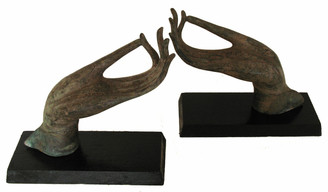 Hand Of Buddha - Bronze Antique Reproductions - Vitarka Mudra: Small Bronze Buddha Hands - Pair of Antique Reproductions Mounted On Wood Base