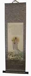 Quan Yin Silk Scroll Antique Painting Reproductions - Quan Yin In Ocean Of Bliss