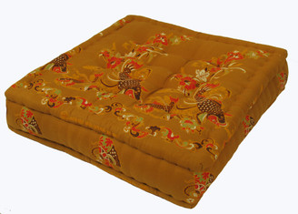 Meditation Floor Pillow - Sitting Cushion - Limited Edition - Fish & Flowers - Golden Brown