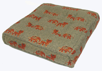 Meditation Floor Pillow - Sitting Cushion - Limited Edition - Elephants - Gray/Green