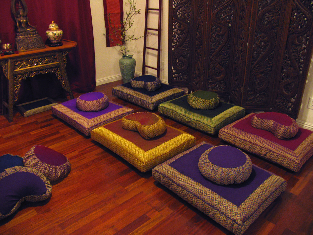 The Small Meditation Room Can Accommodate About 6 10 People Far Wall Holds A Tibetan Niche And Trunk For Holding Equipment