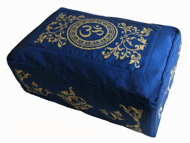 "Meditation Cushion Tibetan Zafu Buckwheat Kapok Fill ""Om in Lotus"" Blue 8"" h"