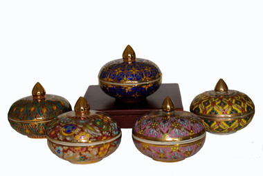 Incense Jar w/Lid - Hand Painted Mini Benjarong Group image showing variety of colors