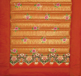 Yoga Mat - Quilted 100% Polished Cotton Prints: Yoga Mat - Tangerine Saffron