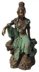 """Quan Yin (Kuan Yin) Statue - Royal Ease Posture - Solid Bronze Patina Finish 19"""" h"""