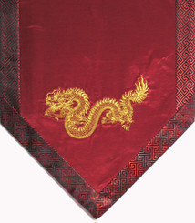 Altar Cloth Or Wall Hanging - Embroidered  w/ Brocade Silk Trim - Large Dragon