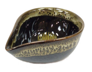 Ikebana Bowls - Brown Hand-Dipped Glaze: Large Water Drop Ikebant